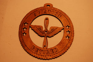 AVIATION RETIRED LASER ORNAMENT