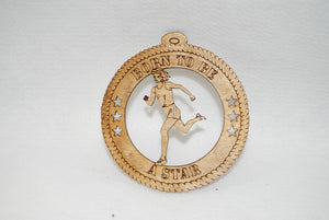TRACK AND FIELD BORN TO BE A STAR LASER CUT ORNAMENT
