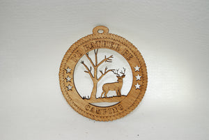 RATHER BE CAMPING DEER LASER CUT ORNAMENT