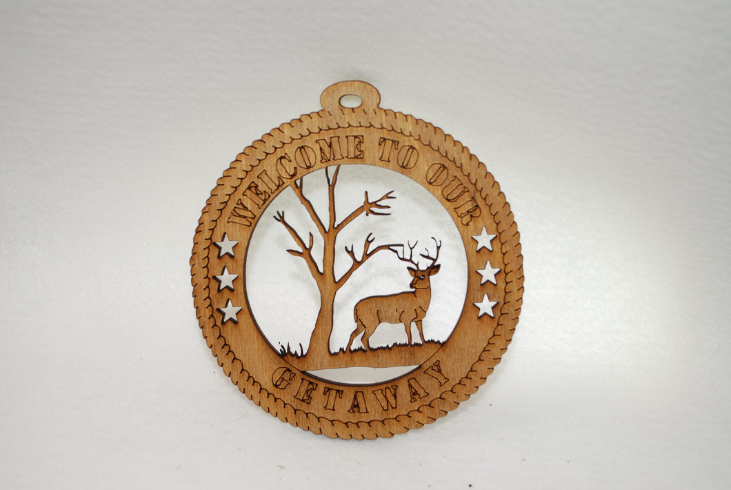 WELCOME TO OUR GETAWAY  DEER LASER CUT ORNAMENT