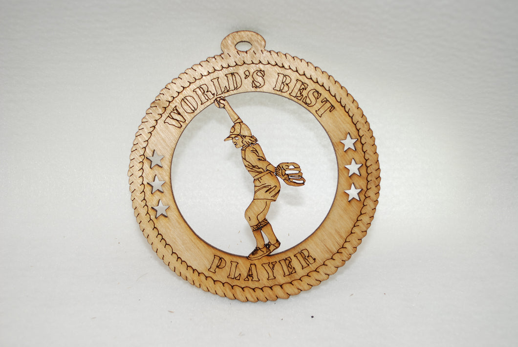 FEMALE WORLD'S BEST PLAYER BASEBALL LASER CUT ORNAMENT