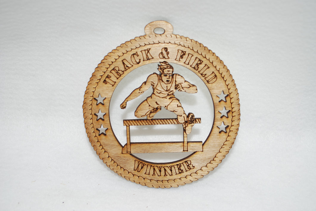 TRACK AND FIELD WINNER  LASER CUT ORNAMENT