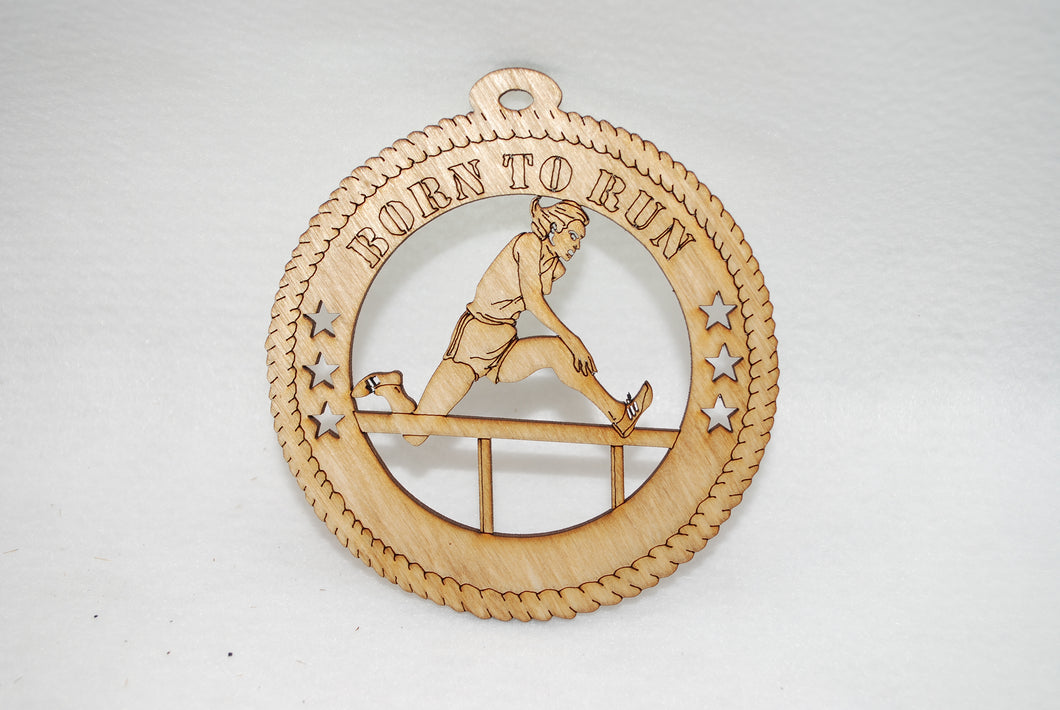 FEMALE BORN TO RUN  LASER CUT ORNAMENT