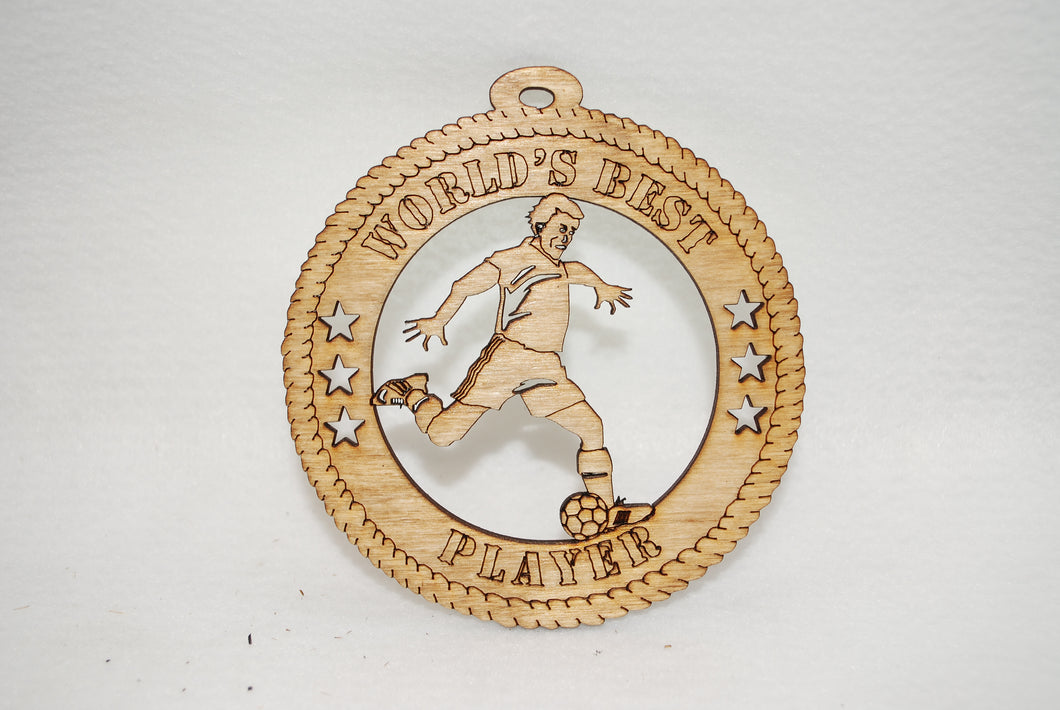 MALE WORLD'S BEST PLAYER SOCCER  LASER CUT ORNAMENT