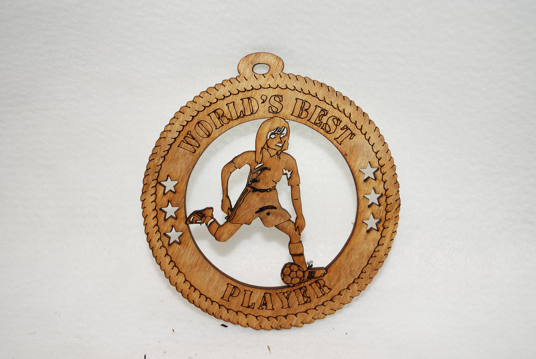 FEMALE WORLD'S BEST PLAYER SOCCER LASER CUT ORNAMENT