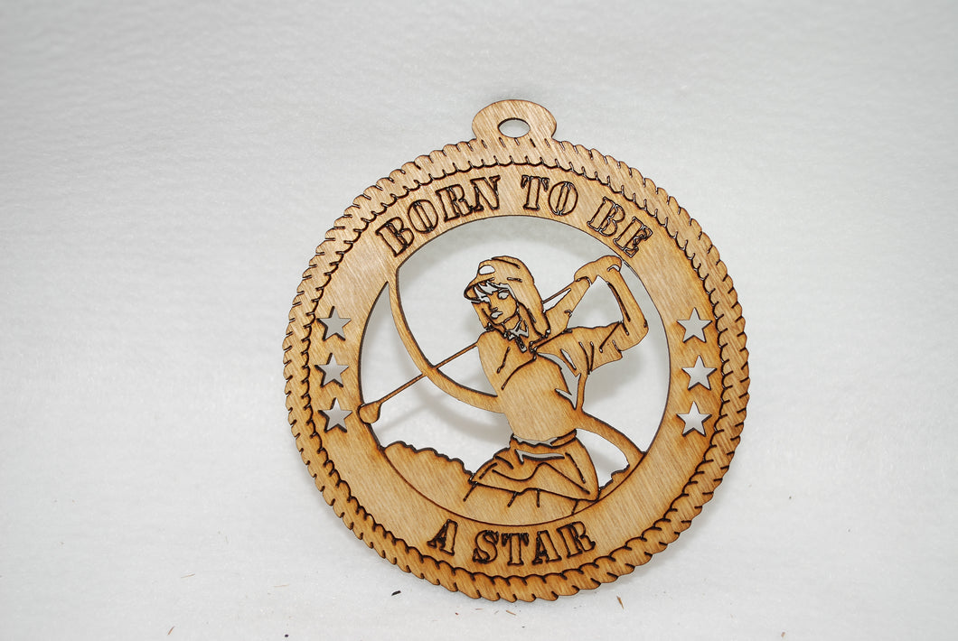 FEMALE BORN TO BE A STAR GOLFER  LASER CUT ORNAMENT
