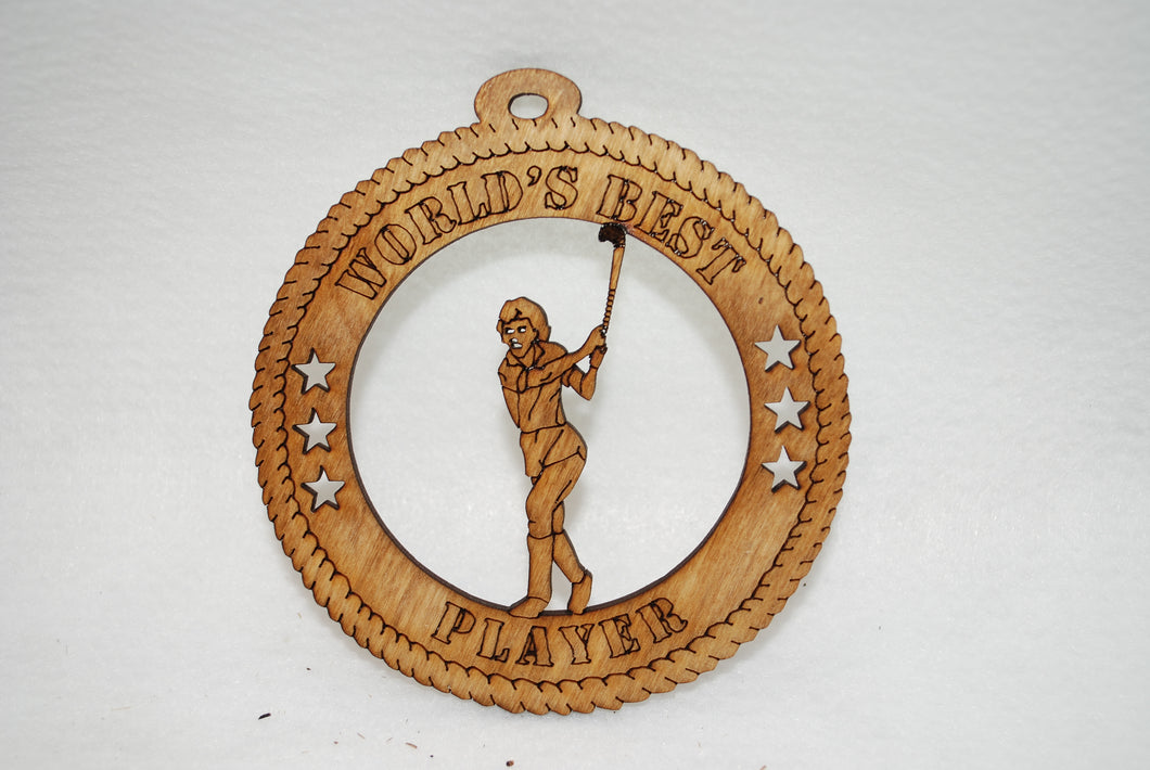 FEMALE WORLDS BEST PLAYER FIELD HOCKEY  LASER CUT ORNAMENT