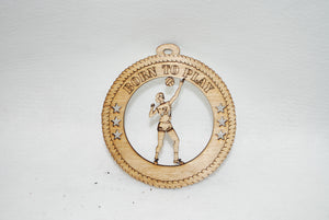FEMALE BORN TO PLAY VOLLEYBALL LASER CUT ORNAMENT