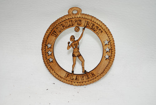 FEMALE WORLD'S BEST PLAYER VOLLEYBALL LASER CUT ORNAMENT