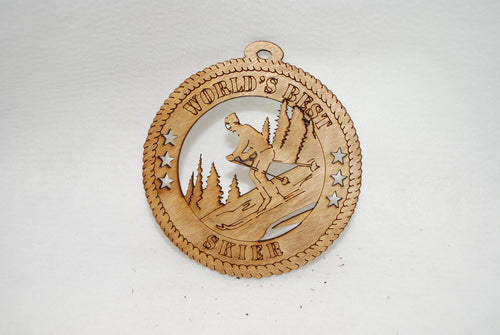 WORLD'S BEST SKIER LASER CUT ORNAMENT