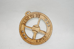 BORN TO BE A STAR BASEBALL AND BATS  LASER CUT ORNAMENT