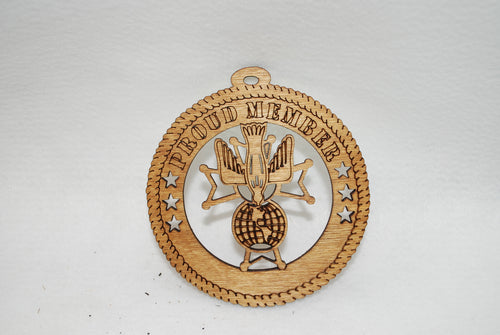 PROUD  MEMBER KNIGHTS OF COLUMBUS  LASER CUT ORNAMENT