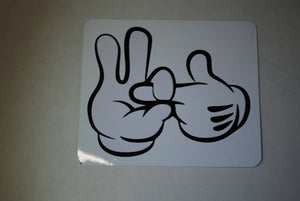 "High quality indoor/outdoor vinyl printed stickers.  Cartoon Hands Making Sex Gesture  3.5""x4"""