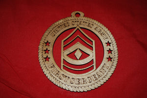 Army Enlisted Rank Insignia First Sergeant wooden ornament