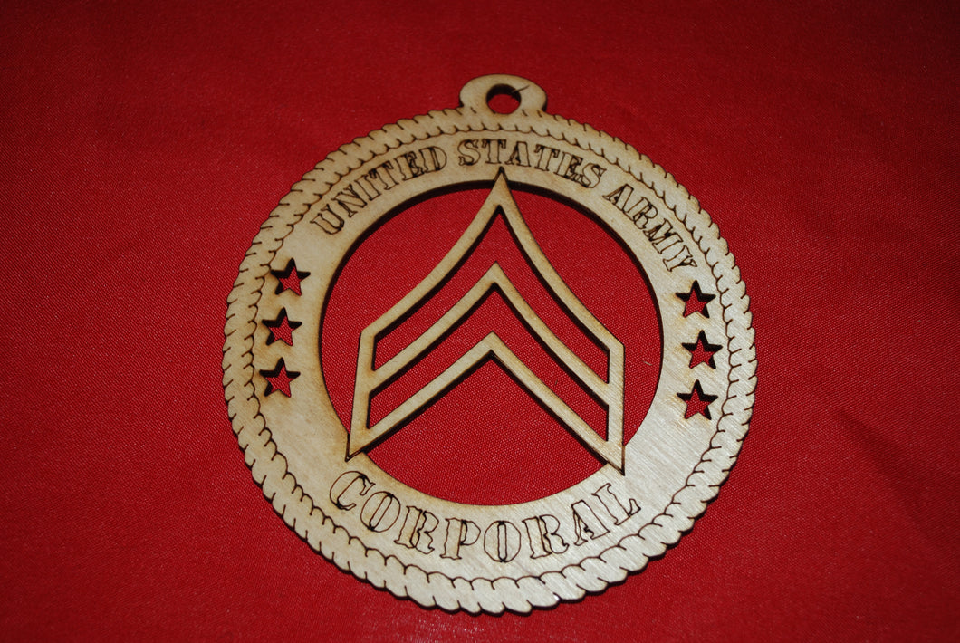 Army Enlisted Rank Insignia  Corporal  wooden ornament