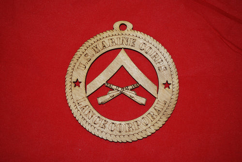 Marine Corps  Enlisted Rank Lance Corporal  wooden ornament