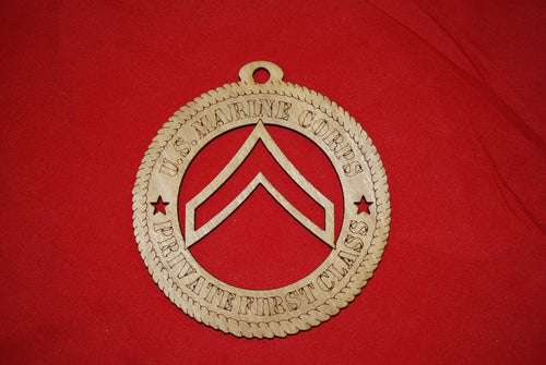 Marine Corps  Enlisted Rank Private First Class wooden ornament