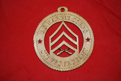 Marine Corps  Enlisted Staff Sergeant wooden ornament