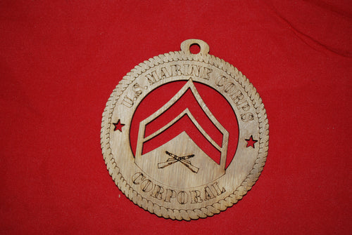 Marine Corps  Enlisted Corporal  wooden ornament