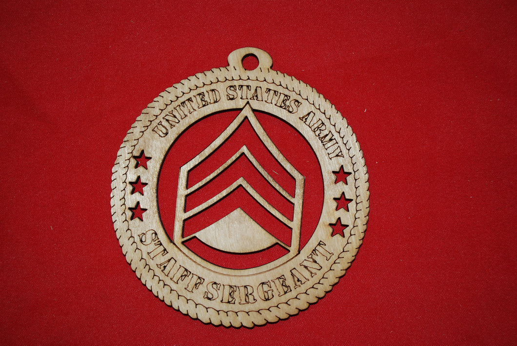 Army Enlisted Rank Insignia Staff Sergeant wooden ornament