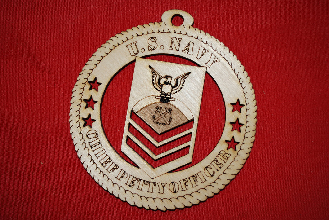 Navy Enlisted Chief Petty Officer wooden ornament