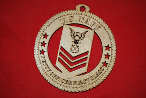 Navy Enlisted Petty Officer First Class  wooden ornament