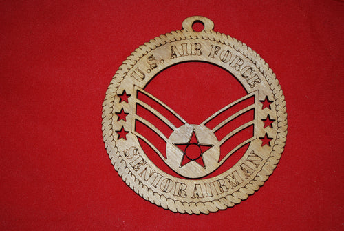 Air Force  Enlisted Rank Insignia Senior Airman  Class  wooden ornament