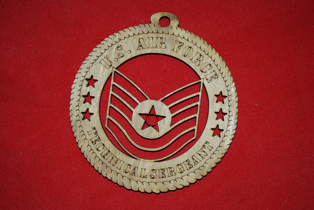 Air Force  Enlisted Rank Insignia Technical Sergeant  Class  wooden ornament