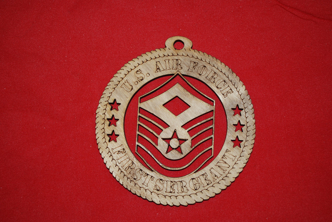 Air Force  Enlisted Rank Insignia First Sergeant E7 wooden ornament