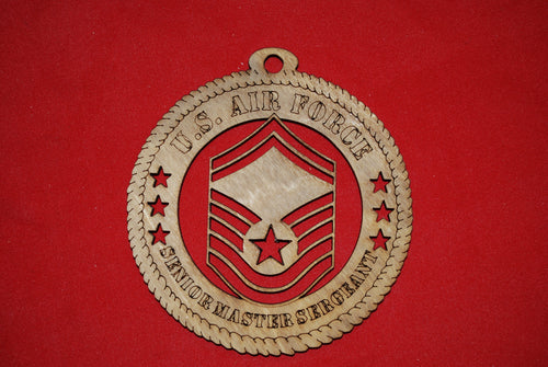 Air Force  Enlisted Rank Insignia Senior Master Sergeant E8 wooden ornament