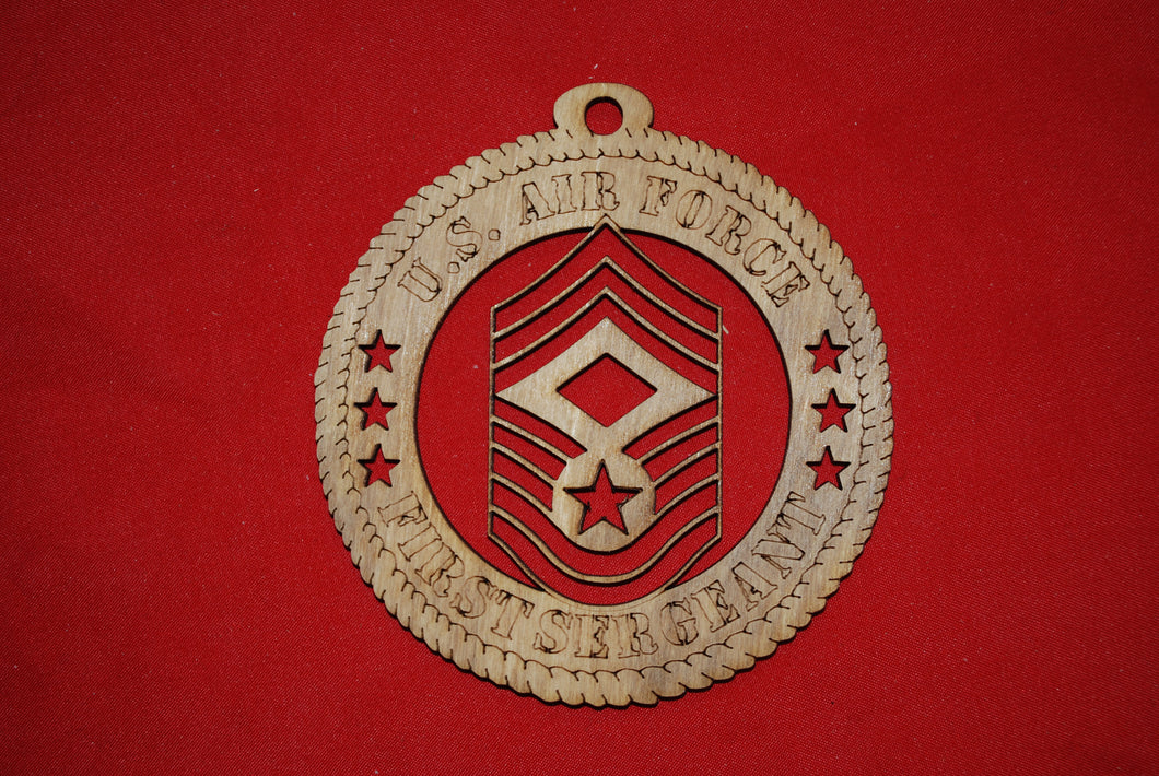Air Force  Enlisted Rank Insignia First Sergeant E9 wooden ornament