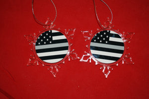 Thin Silver Line Clear Plastic Large or small  Snowflake Shaped Ornament