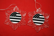 Load image into Gallery viewer, Thin Silver Line Clear Plastic Large or small  Snowflake Shaped Ornament