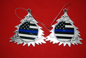 Thin Red line Christmas Tree Shaped Ornament
