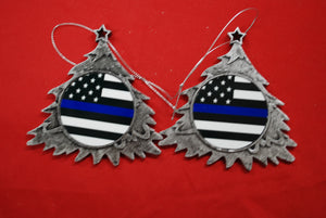Thin Blue line Christmas Tree Shaped Ornament