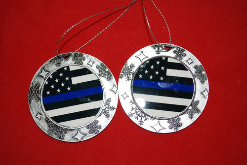 Thin Blue line Christmas Wreath Shaped Ornament