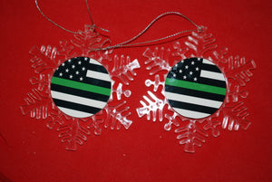 Thin Green Line Clear Plastic Large or small  Snowflake Shaped Ornament