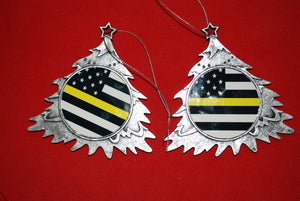 Thin Yellow/gold line Christmas Tree Shaped Ornament