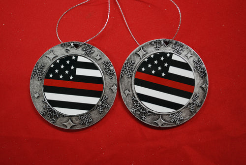 Thin red line Christmas Wreath Shaped Ornament