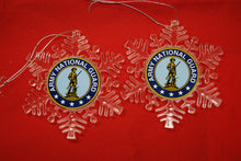 Load image into Gallery viewer, Army National Guard Clear Plastic Large or small  Snowflake Shaped Ornament