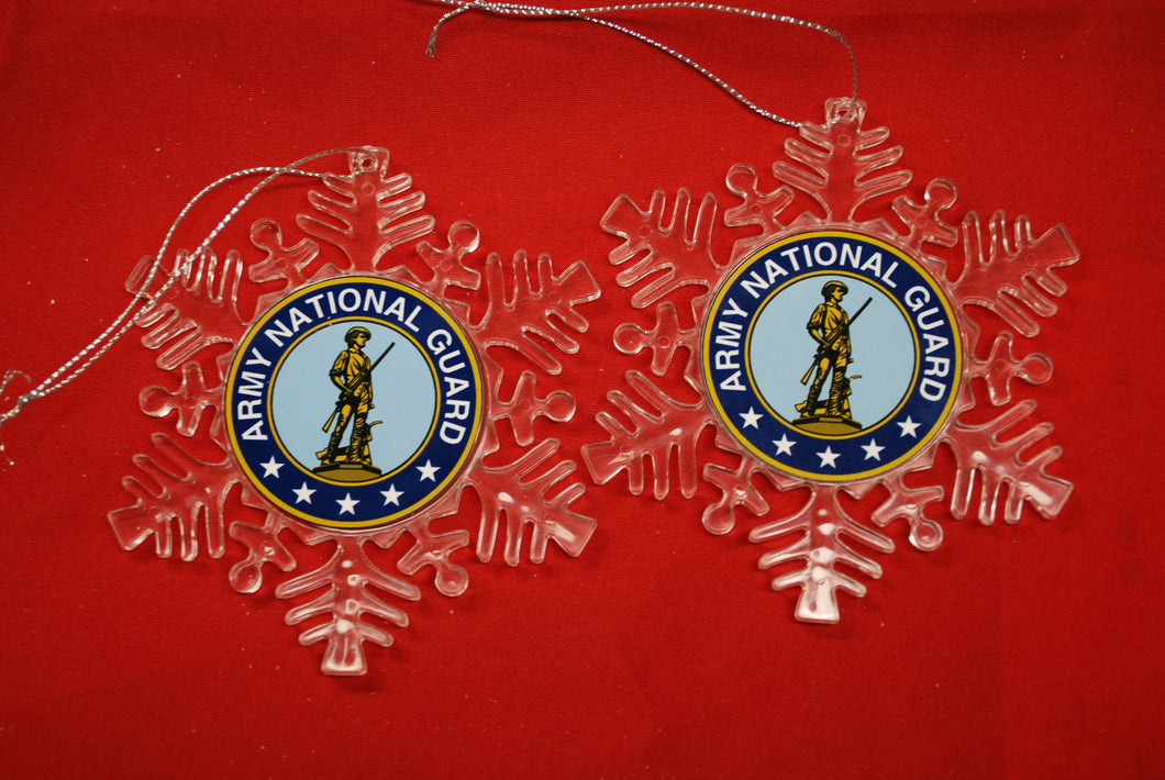 Army National Guard Clear Plastic Large or small  Snowflake Shaped Ornament