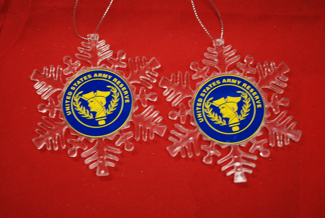 Army Reserve Clear Plastic Large or small  Snowflake Shaped Ornament