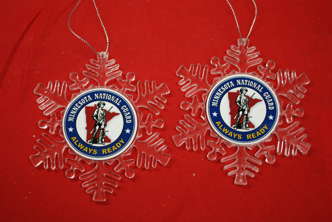 Minnesota National Guard Clear Plastic Large or small  Snowflake Shaped Ornament