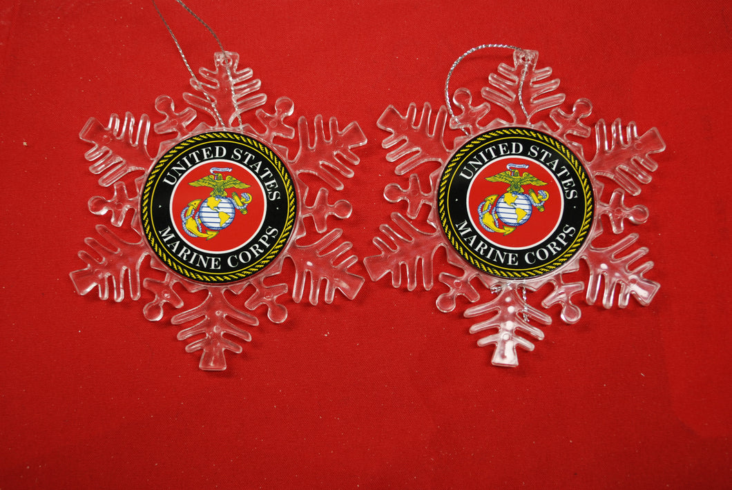 USMC Marine Corps Clear Plastic Large or small  Snowflake Shaped Ornament