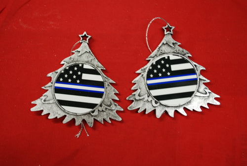 Thin Blue with white line  Christmas Tree Shaped Ornament