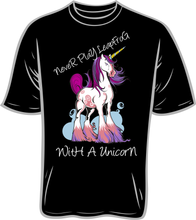 Load image into Gallery viewer, Never Leapfrog A Unicorn T shirt black
