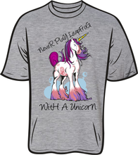 Load image into Gallery viewer, Never Leapfrog A Unicorn T shirt grey
