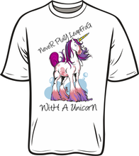 Load image into Gallery viewer, Never Leapfrog A Unicorn T shirt white