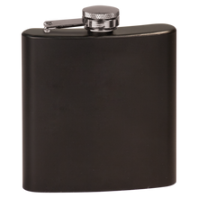 Load image into Gallery viewer, PERSONALIZED GROOMSMEN GIFT FLASK BLACK STAINLESS STEEL