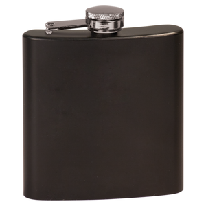 PERSONALIZED GROOMSMEN GIFT FLASK BLACK STAINLESS STEEL